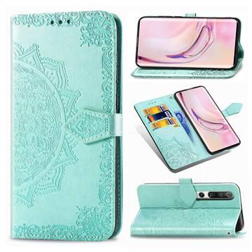 Embossing Imprint Mandala Flower Leather Wallet Case for Xiaomi Mi 10 / Mi 10 Pro 5G - Green
