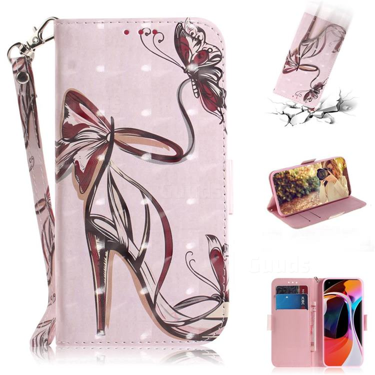 Butterfly High Heels 3D Painted Leather Wallet Phone Case for Xiaomi Mi 10 / Mi 10 Pro 5G
