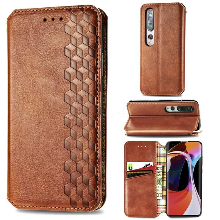 Ultra Slim Fashion Business Card Magnetic Automatic Suction Leather Flip Cover for Xiaomi Mi 10 / Mi 10 Pro 5G - Brown