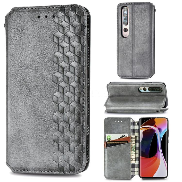 Ultra Slim Fashion Business Card Magnetic Automatic Suction Leather Flip Cover for Xiaomi Mi 10 / Mi 10 Pro 5G - Grey
