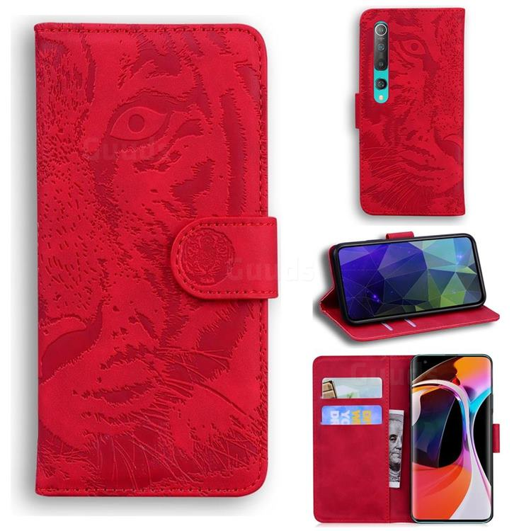 Intricate Embossing Tiger Face Leather Wallet Case for Xiaomi Mi 10 / Mi 10 Pro 5G - Red