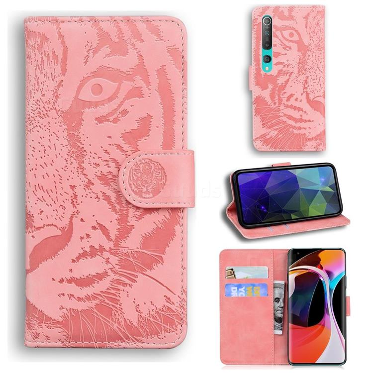 Intricate Embossing Tiger Face Leather Wallet Case for Xiaomi Mi 10 / Mi 10 Pro 5G - Pink