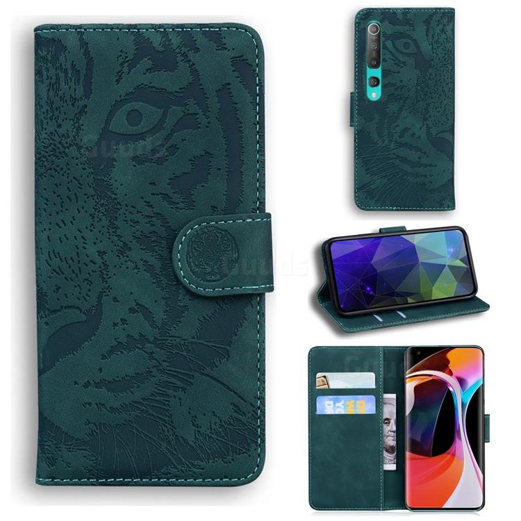 Intricate Embossing Tiger Face Leather Wallet Case for Xiaomi Mi 10 / Mi 10 Pro 5G - Green
