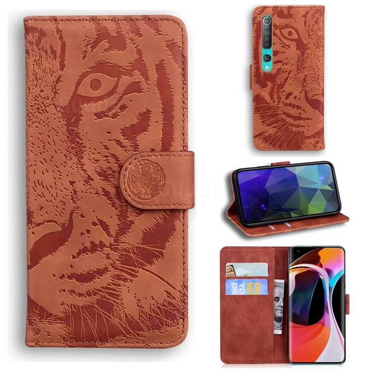 Intricate Embossing Tiger Face Leather Wallet Case for Xiaomi Mi 10 / Mi 10 Pro 5G - Brown