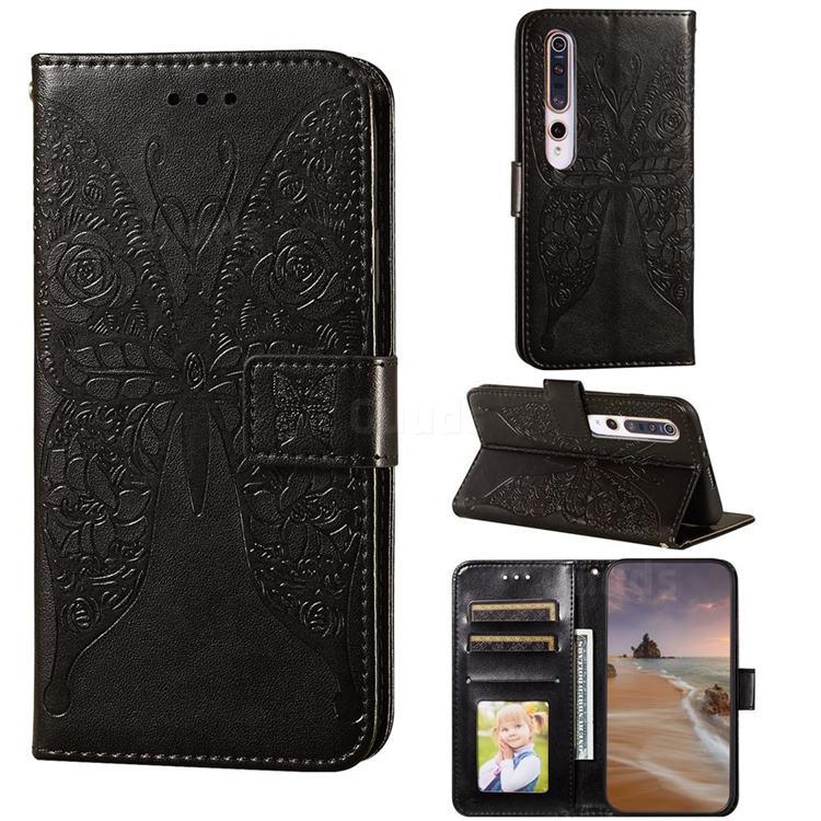 Intricate Embossing Rose Flower Butterfly Leather Wallet Case for Xiaomi Mi 10 / Mi 10 Pro 5G - Black