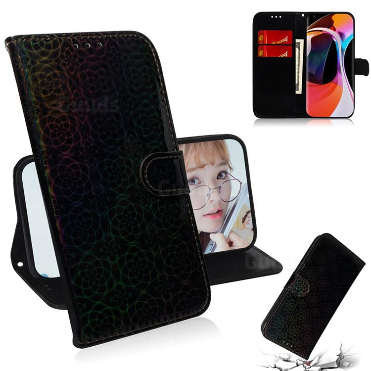 Laser Circle Shining Leather Wallet Phone Case for Xiaomi Mi 10 / Mi 10 Pro 5G - Black