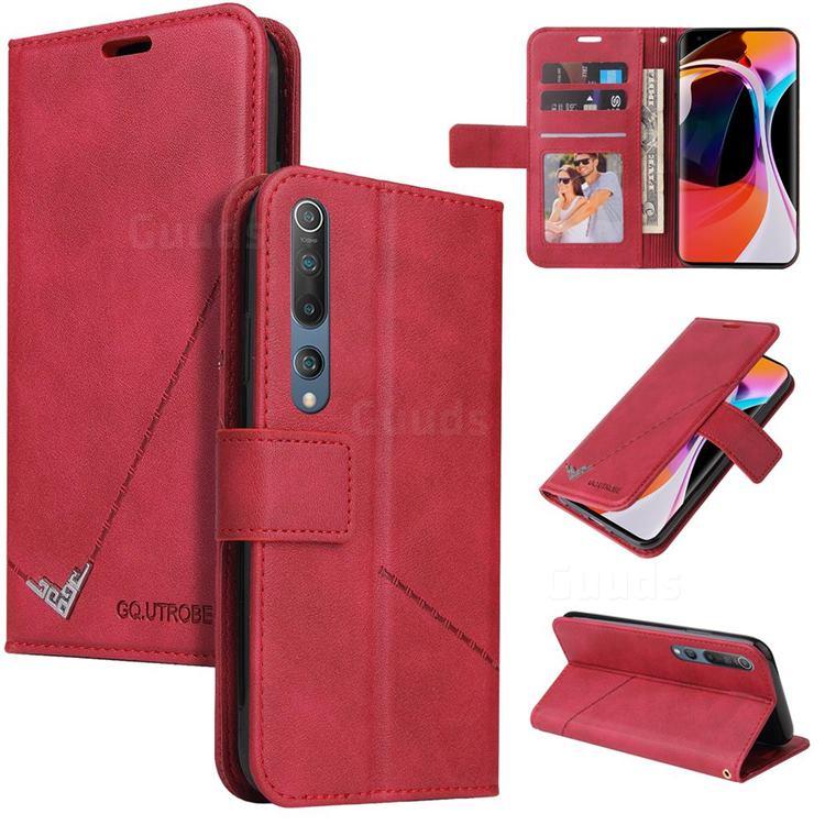 GQ.UTROBE Right Angle Silver Pendant Leather Wallet Phone Case for Xiaomi Mi 10 / Mi 10 Pro 5G - Red