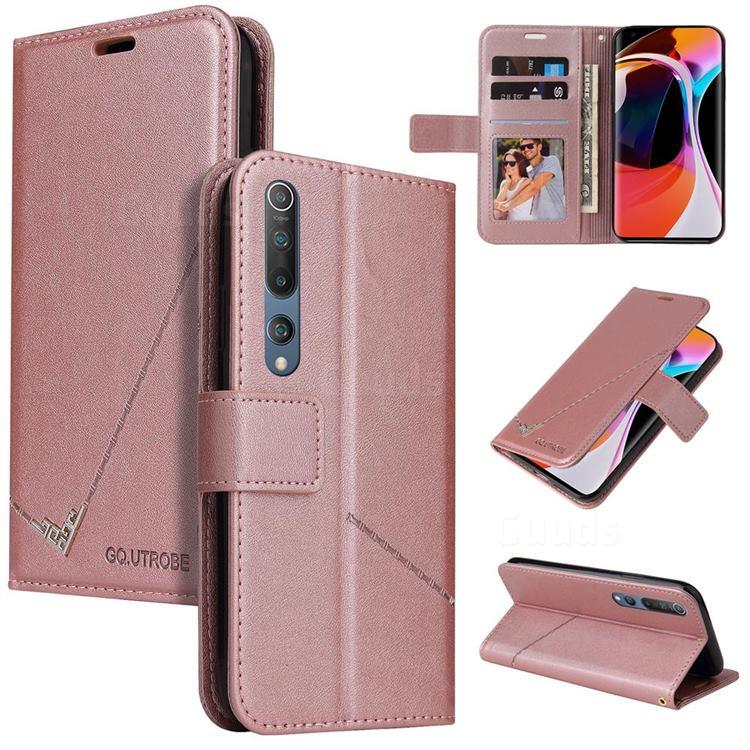 GQ.UTROBE Right Angle Silver Pendant Leather Wallet Phone Case for Xiaomi Mi 10 / Mi 10 Pro 5G - Rose Gold