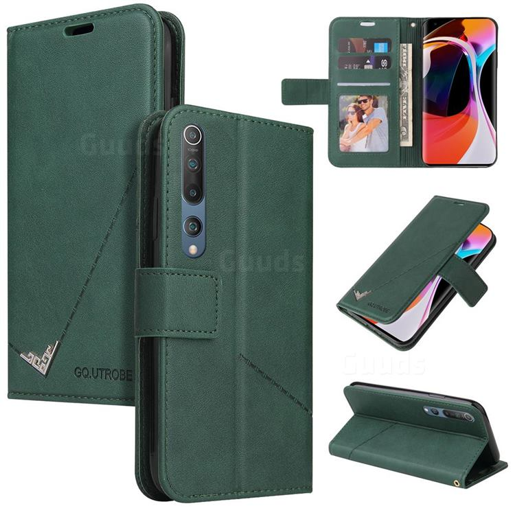 GQ.UTROBE Right Angle Silver Pendant Leather Wallet Phone Case for Xiaomi Mi 10 / Mi 10 Pro 5G - Green