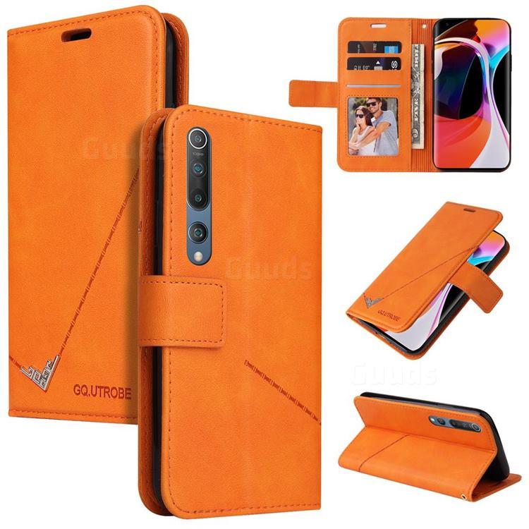 GQ.UTROBE Right Angle Silver Pendant Leather Wallet Phone Case for Xiaomi Mi 10 / Mi 10 Pro 5G - Orange