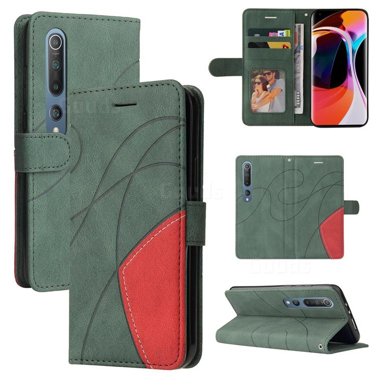 Luxury Two-color Stitching Leather Wallet Case Cover for Xiaomi Mi 10 / Mi 10 Pro 5G - Green