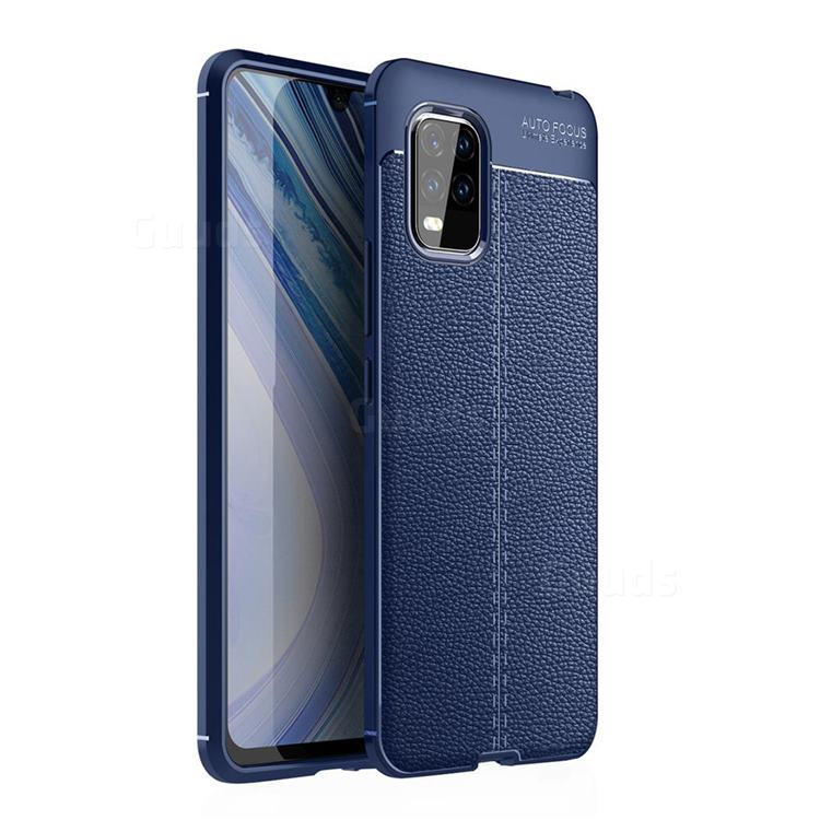 Luxury Auto Focus Litchi Texture Silicone TPU Back Cover for Xiaomi Mi 10 Lite - Dark Blue