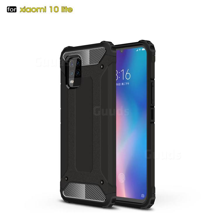 King Kong Armor Premium Shockproof Dual Layer Rugged Hard Cover for Xiaomi Mi 10 Lite - Black Gold