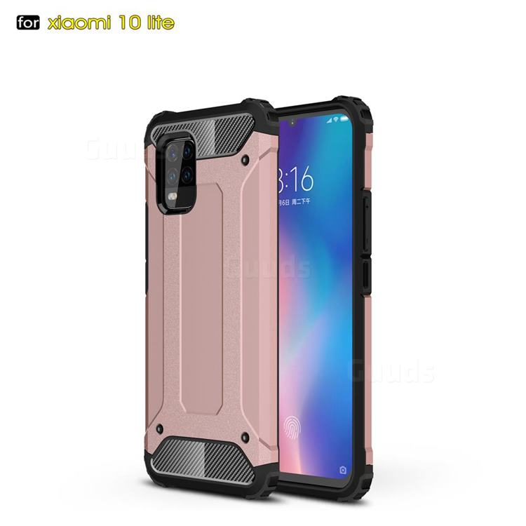 King Kong Armor Premium Shockproof Dual Layer Rugged Hard Cover for Xiaomi Mi 10 Lite - Rose Gold