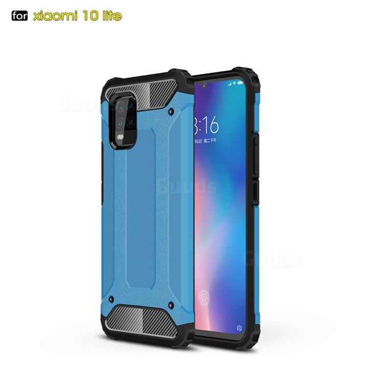 King Kong Armor Premium Shockproof Dual Layer Rugged Hard Cover for Xiaomi Mi 10 Lite - Sky Blue