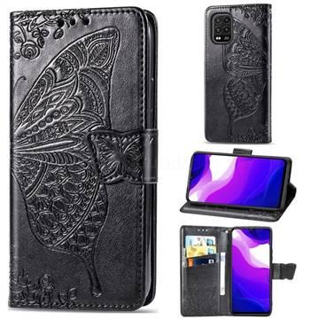 Embossing Mandala Flower Butterfly Leather Wallet Case for Xiaomi Mi 10 Lite - Black