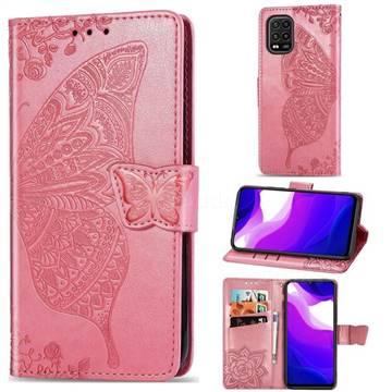 Embossing Mandala Flower Butterfly Leather Wallet Case for Xiaomi Mi 10 Lite - Pink
