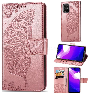 Embossing Mandala Flower Butterfly Leather Wallet Case for Xiaomi Mi 10 Lite - Rose Gold