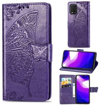 Embossing Mandala Flower Butterfly Leather Wallet Case for Xiaomi Mi 10 Lite - Dark Purple