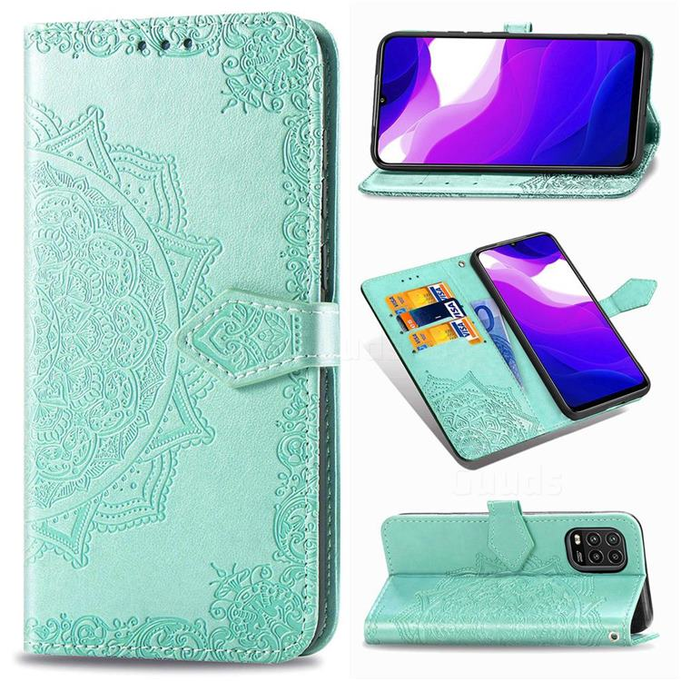 Embossing Imprint Mandala Flower Leather Wallet Case for Xiaomi Mi 10 Lite - Green