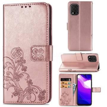 Embossing Imprint Four-Leaf Clover Leather Wallet Case for Xiaomi Mi 10 Lite - Rose Gold