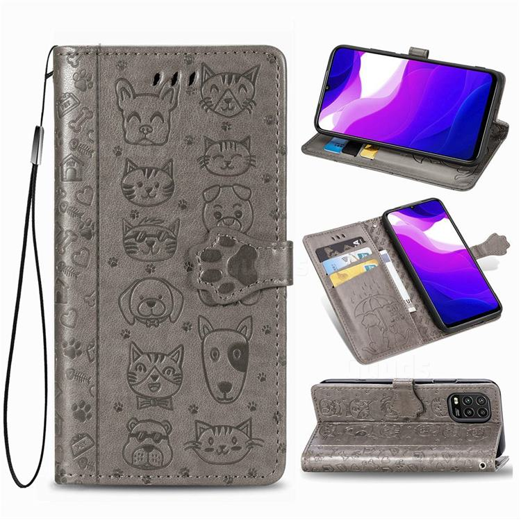Embossing Dog Paw Kitten and Puppy Leather Wallet Case for Xiaomi Mi 10 Lite - Gray