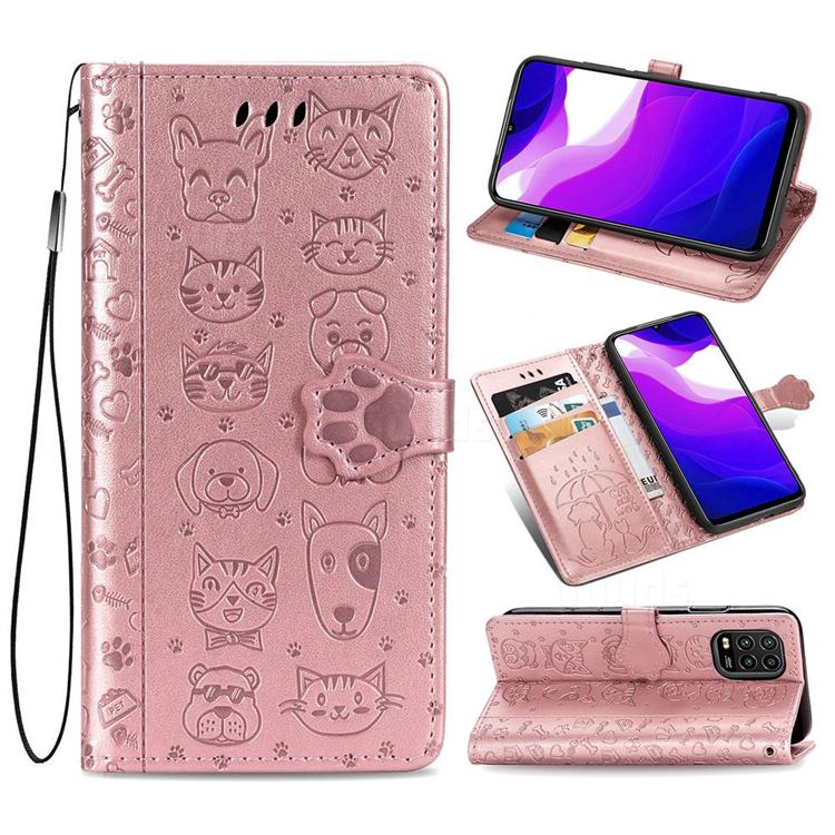 Embossing Dog Paw Kitten and Puppy Leather Wallet Case for Xiaomi Mi 10 Lite - Rose Gold
