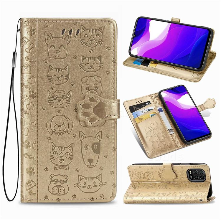 Embossing Dog Paw Kitten and Puppy Leather Wallet Case for Xiaomi Mi 10 Lite - Champagne Gold
