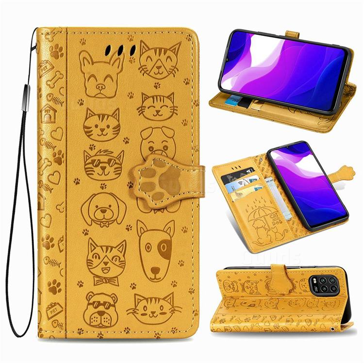 Embossing Dog Paw Kitten and Puppy Leather Wallet Case for Xiaomi Mi 10 Lite - Yellow