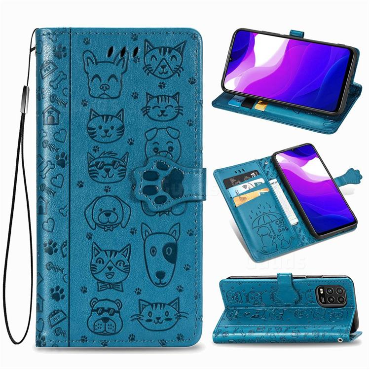 Embossing Dog Paw Kitten and Puppy Leather Wallet Case for Xiaomi Mi 10 Lite - Blue