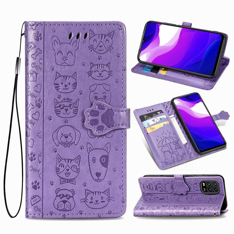 Embossing Dog Paw Kitten and Puppy Leather Wallet Case for Xiaomi Mi 10 Lite - Purple