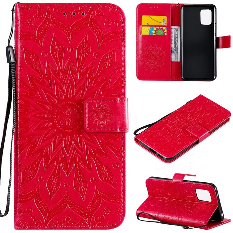 Embossing Sunflower Leather Wallet Case for Xiaomi Mi 10 Lite - Red