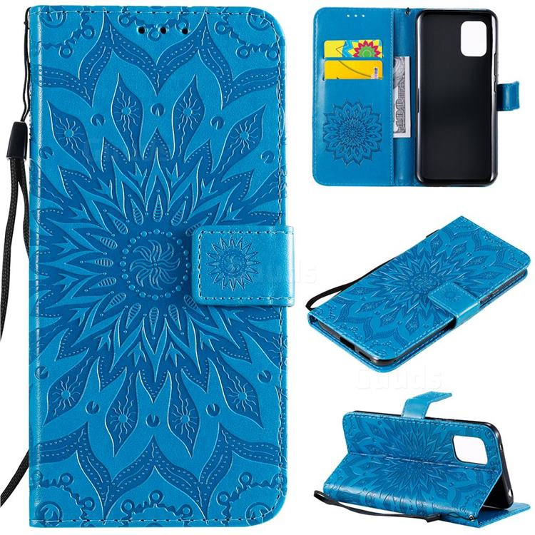 Embossing Sunflower Leather Wallet Case for Xiaomi Mi 10 Lite - Blue