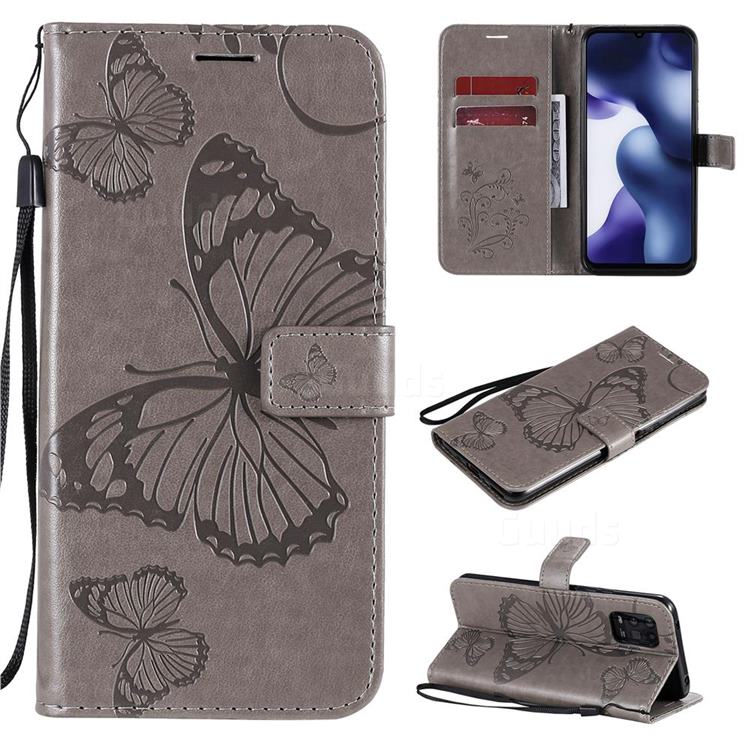 Embossing 3D Butterfly Leather Wallet Case for Xiaomi Mi 10 Lite - Gray
