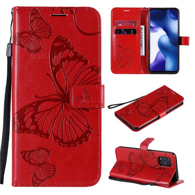Embossing 3D Butterfly Leather Wallet Case for Xiaomi Mi 10 Lite - Red