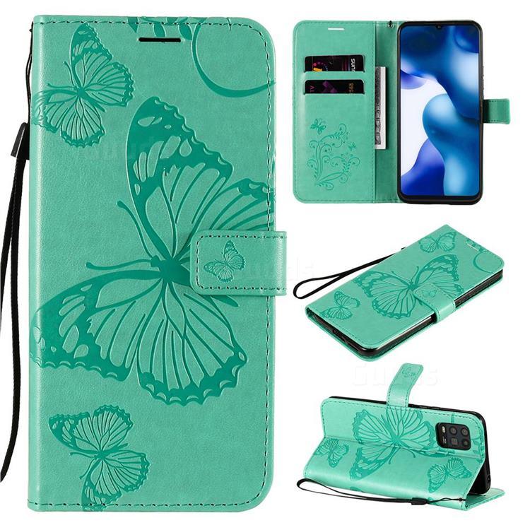 Embossing 3D Butterfly Leather Wallet Case for Xiaomi Mi 10 Lite - Green