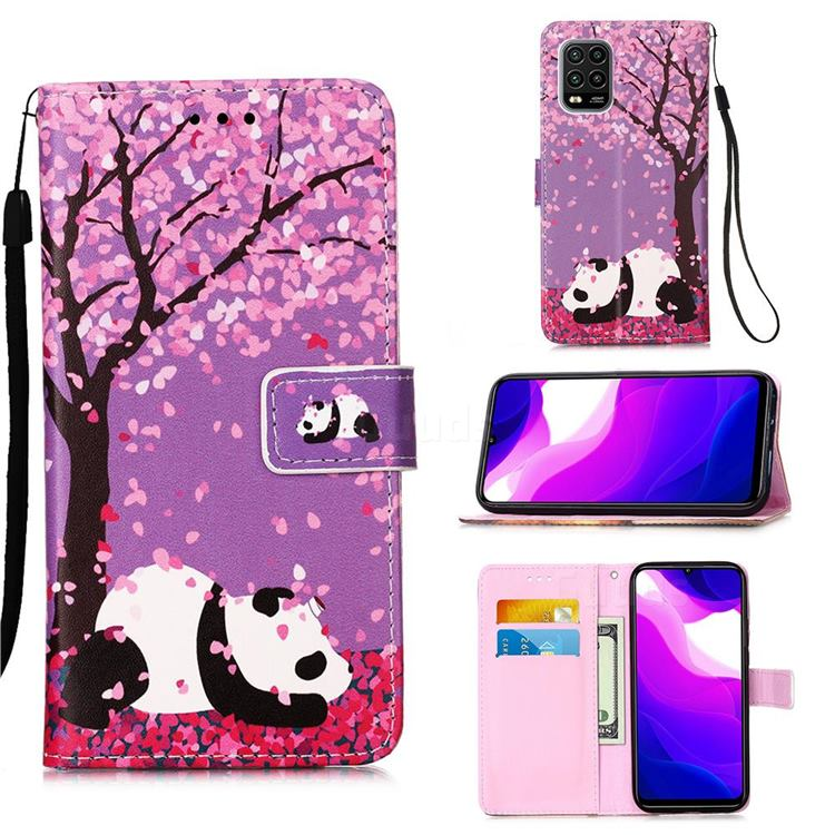 Cherry Blossom Panda Matte Leather Wallet Phone Case for Xiaomi Mi 10 Lite