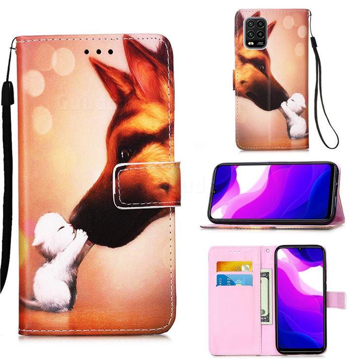 Hound Kiss Matte Leather Wallet Phone Case for Xiaomi Mi 10 Lite
