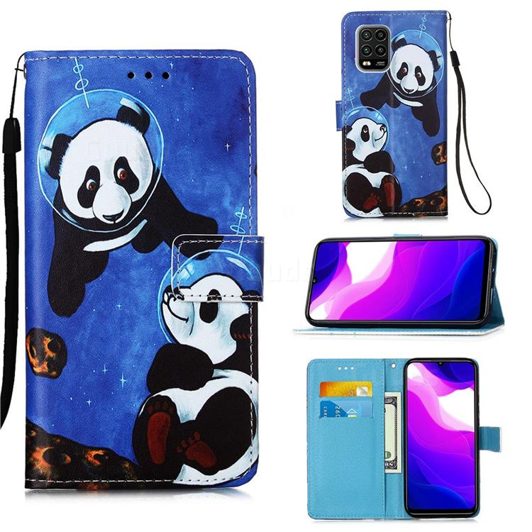 Undersea Panda Matte Leather Wallet Phone Case for Xiaomi Mi 10 Lite