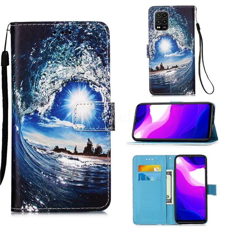 Waves and Sun Matte Leather Wallet Phone Case for Xiaomi Mi 10 Lite