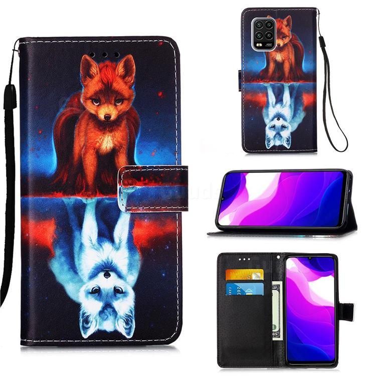 Water Fox Matte Leather Wallet Phone Case for Xiaomi Mi 10 Lite