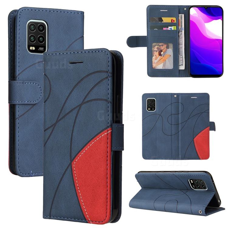 Luxury Two-color Stitching Leather Wallet Case Cover for Xiaomi Mi 10 Lite - Blue