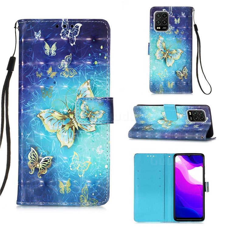 Gold Butterfly 3D Painted Leather Wallet Case for Xiaomi Mi 10 Lite