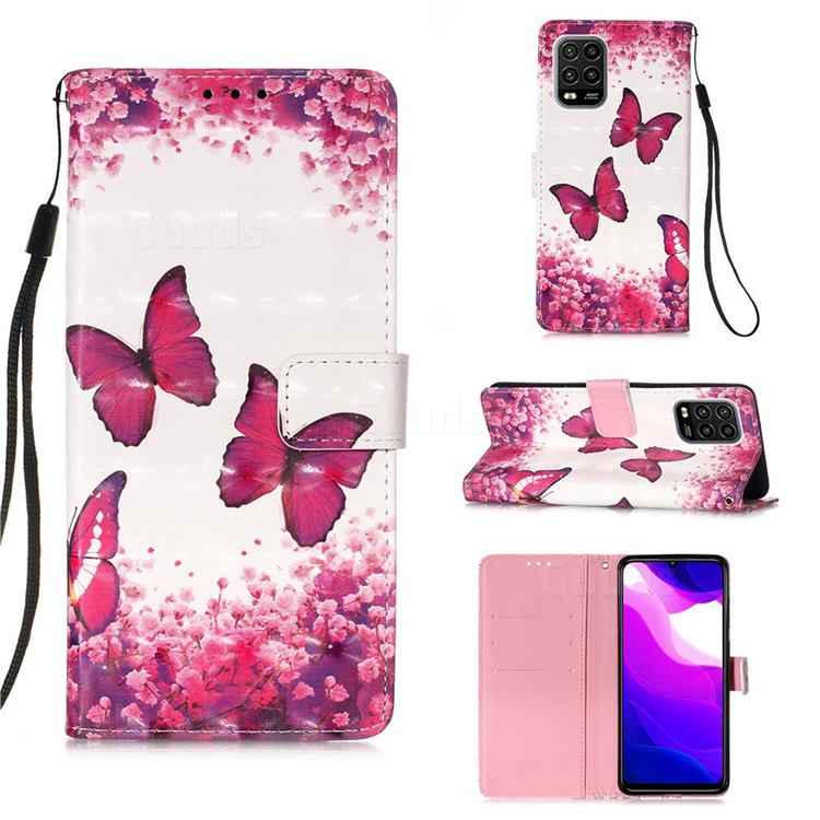 Rose Butterfly 3D Painted Leather Wallet Case for Xiaomi Mi 10 Lite