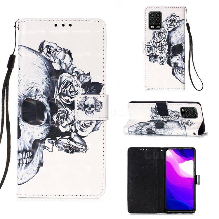 Skull Flower 3D Painted Leather Wallet Case for Xiaomi Mi 10 Lite