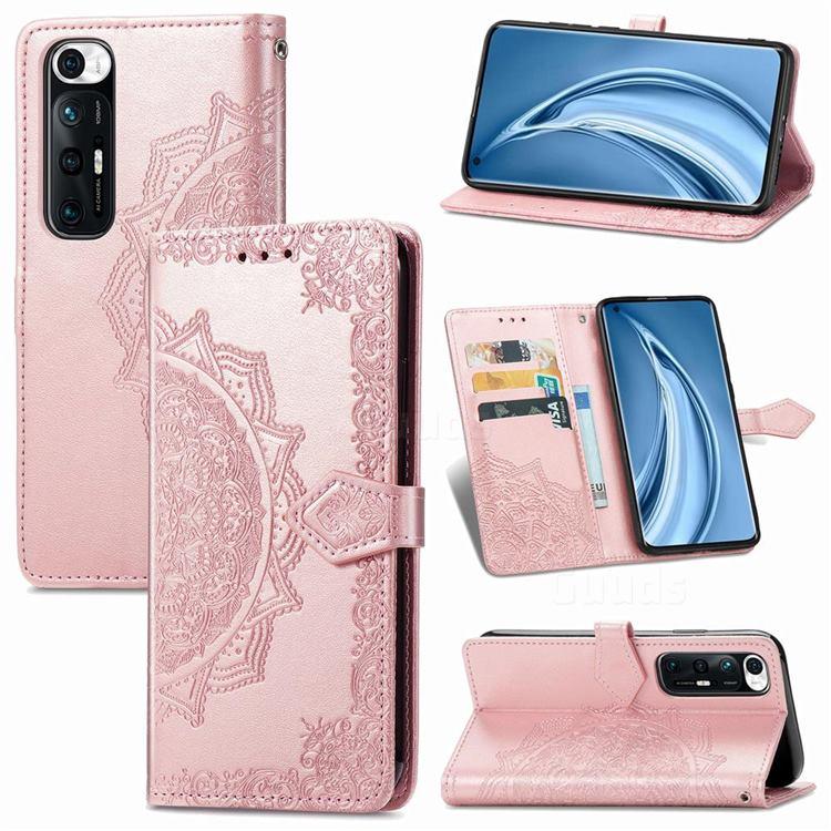 Embossing Imprint Mandala Flower Leather Wallet Case for Xiaomi Mi 10S - Rose Gold