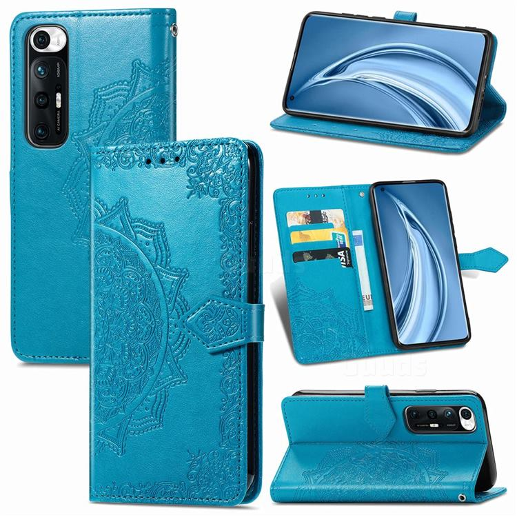 Embossing Imprint Mandala Flower Leather Wallet Case for Xiaomi Mi 10S - Blue