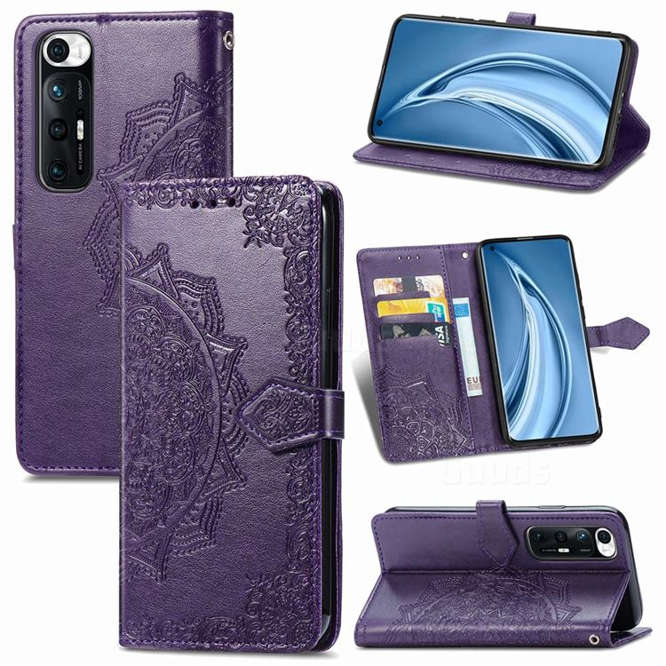 Embossing Imprint Mandala Flower Leather Wallet Case for Xiaomi Mi 10S - Purple
