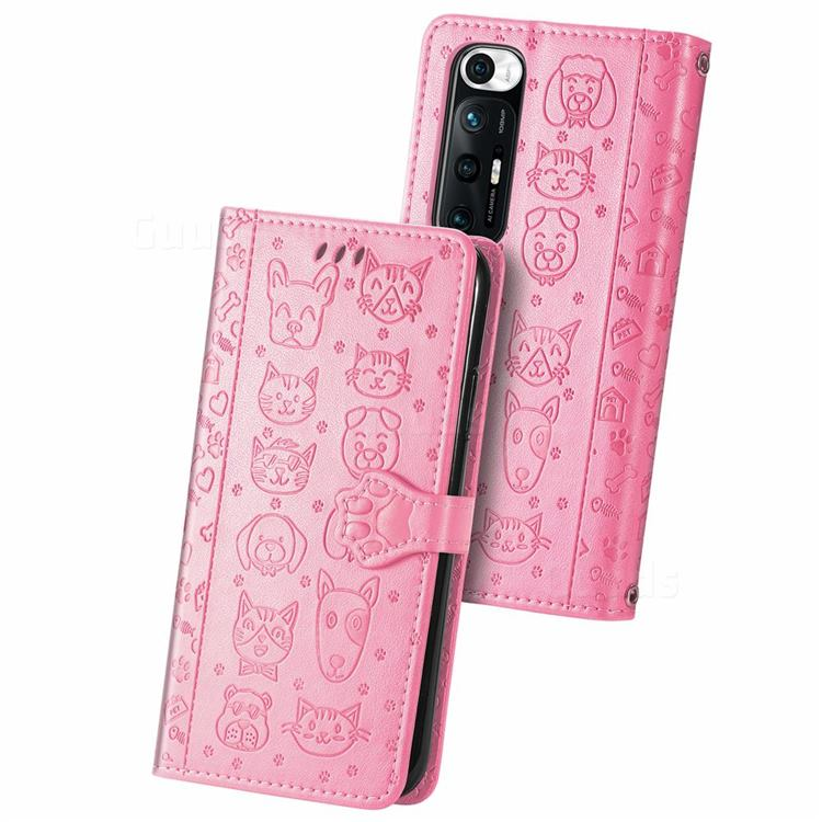 Embossing Dog Paw Kitten and Puppy Leather Wallet Case for Xiaomi Mi 10S - Pink
