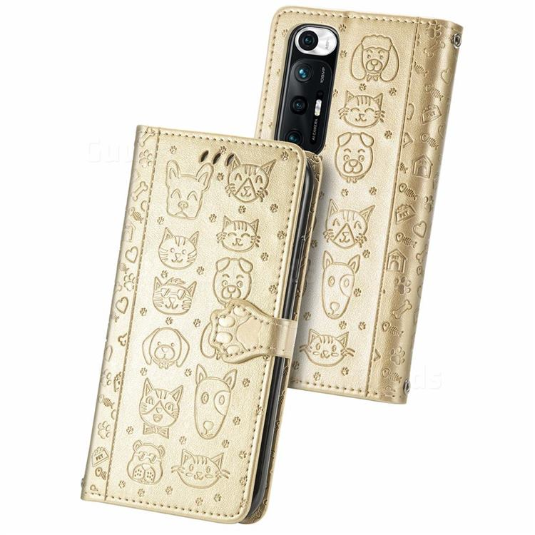 Embossing Dog Paw Kitten and Puppy Leather Wallet Case for Xiaomi Mi 10S - Champagne Gold